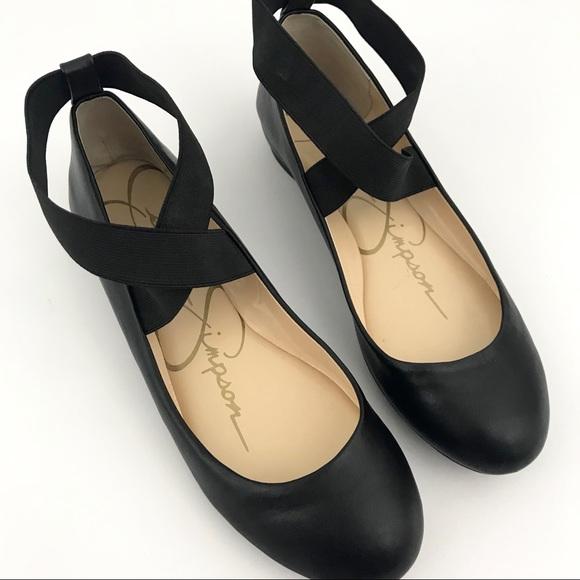 663990f3a573 Jessica Simpson Shoes - Black Jessica Simpson Ankle Strap Ballet Flats